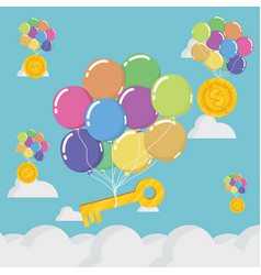 concept of business balloon and key on blue sky vector image