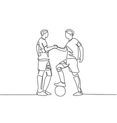 continuous line drawing two football player vector image