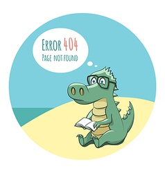 Crocodile With a Book - Error 404 vector