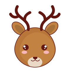 Cute and tender reindeer head character vector
