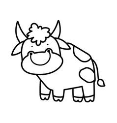 Cute bull livestock farm animal cartoon thick line vector