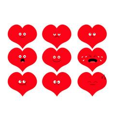 Cute heart shape emoji set funny kawaii cartoon vector