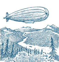 dirigible or zeppelin on background the vector image