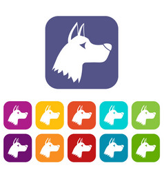 Doberman dog icons set vector