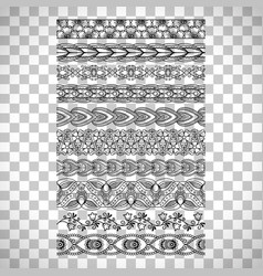 Doodle floral borders on transparent background vector