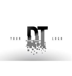 Dt d t pixel letter logo with digital shattered vector