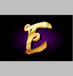 E alphabet letter golden 3d logo icon design vector