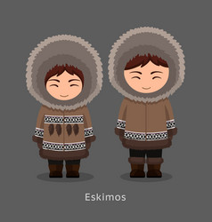 eskimos in national clothes vector image