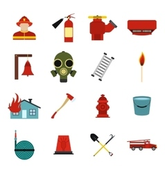 Firefighter flat icons set vector image vector image