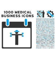 Fitness Calendar Day Icon With 1000 Medical vector