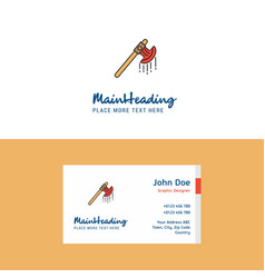 Flat bloody axe logo and visiting card template vector