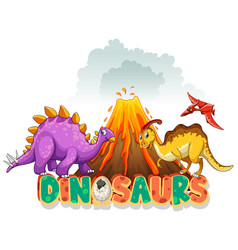font design for word dinosaurs with three vector image