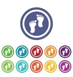 Footprint signs colored set vector