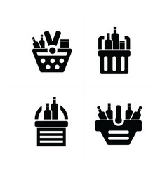 fresh food shopping cart icon vector image