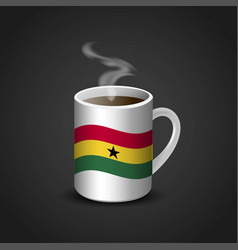 Ghana flag printed on hot coffee cup vector