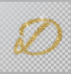 Gold glitter powder letter d in hand painted style vector
