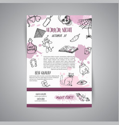 hand drawn halloween newsletter template horror vector image