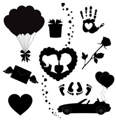happy valentines day black icons silhouette set vector image
