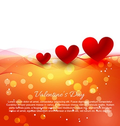 Heart background with wave and bokeh effect vector