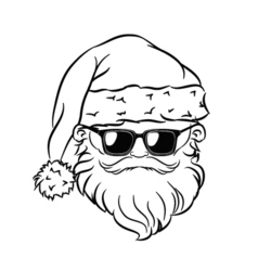 Hipster Santa Claus Head Sunglasses vector