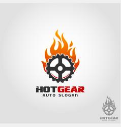 hot gear - auto fire logo vector image