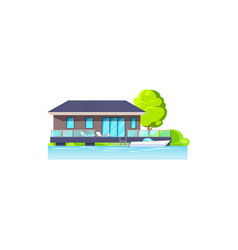 House villa or cottage on beach isolated icon vector
