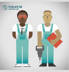 Industrial workmen set vector