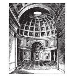 Interior of the pantheon at rome vintage engraving vector