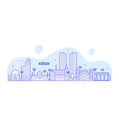 Karachi skyline pakistan city linear art vector
