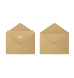 Kraft paper envelopes isolated on background vector