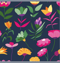 lilac and daisies flowers in bloom pattern vector image