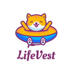 logo life vest simple mascot style vector image