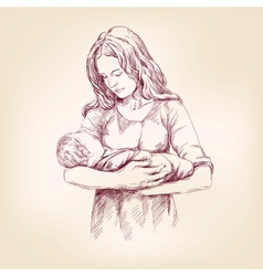 Madonna mary holding baby jesus vector