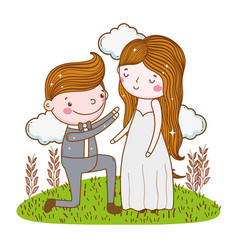 Man and woman wedding with plants leaves and vector