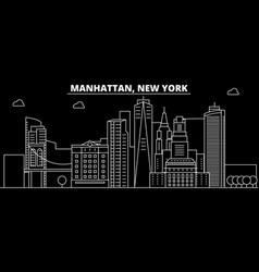 manhattan silhouette skyline usa - manhattan vector image