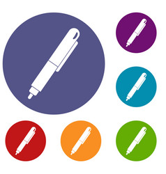 marker pen icons set vector image
