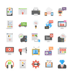 Media and advertisement flat icon set vector