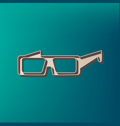 modern glass sign icon printed at 3d on vector image