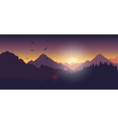 Mountain landscape at sunset and dawn vector image