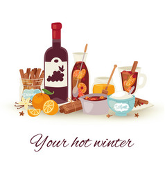mulled wine winter and christmas hot drink vector image