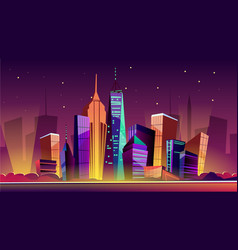 New york night cityscape cartoon vector