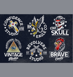 old school tattoo emblems vector image
