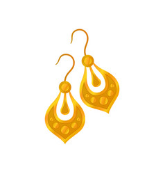 Pair gold earrings without precious stones vector