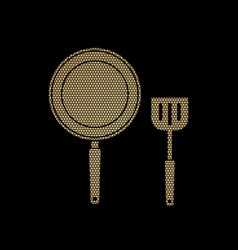 pan and spatula top view vector image