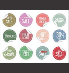 paper sale colorful stickers collection vector image