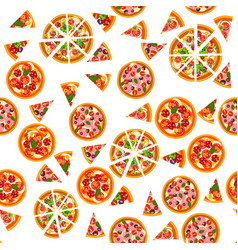pizza seamless pattern different pizza background vector image
