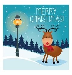 reindeer cartoon icon Merry Christmas design vector image