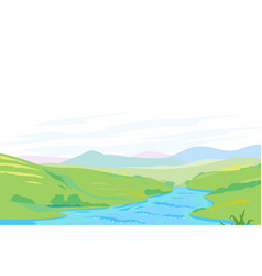 River in green valley panorama vector