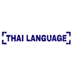 Scratched textured thai language stamp seal inside vector
