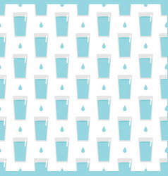 seamless pattern background with glass of water vector image